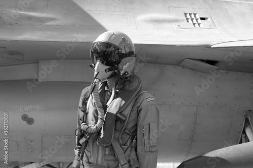 Fotografia Pilot Standing Against Airplane