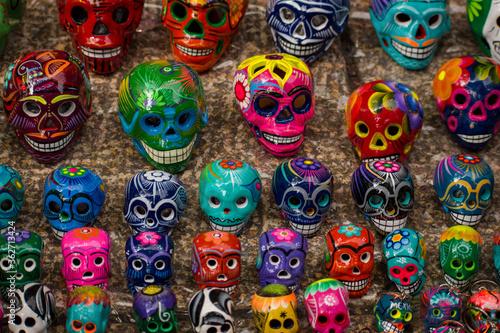 Fototapety, obrazy: Dia de muertos, tradición calaveras colores