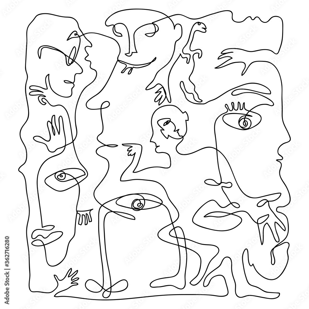 Continuous hand drawing style art. Black and white abstract composition with people portrets and body parts.