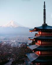 Pagoda In City Against Clear Sky