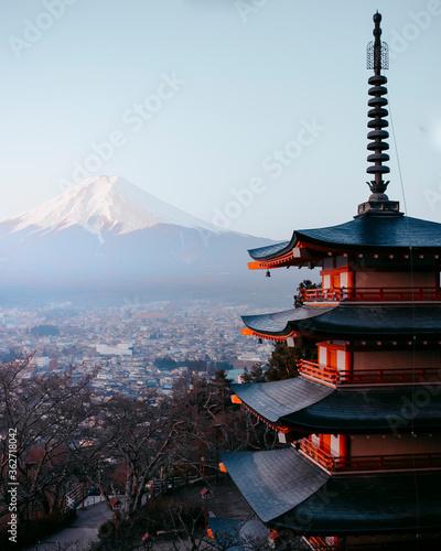 Canvas Print Pagoda In City Against Clear Sky