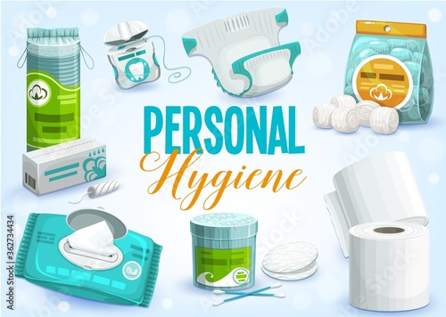 Personal hygiene products vector design of toilet paper rolls, cleansing towel or wet wipes, cotton wool balls, pads and swabs, dental floss, tampons and diaper. Bathroom accessories, sanitary items #362734434