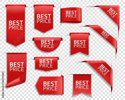 Best price red ribbons and banners, web design elements Canvas Print