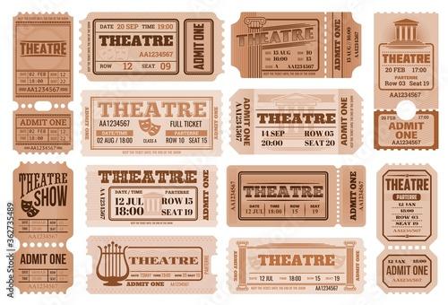 Photo Theatre retro tickets, theater admits templates