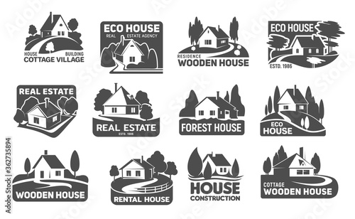 Fototapeta Wooden eco houses, real estate buildings vector icons. Cottage silhouettes with trees and lawn, garden, path or driveway and fence. Emblem or eco design for landscaping service and real estate company obraz