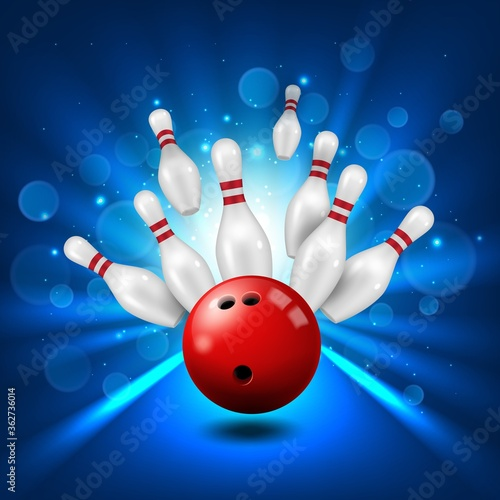 Bowling alley, skittles and ball in ninepin strike, vector poster background Canvas-taulu