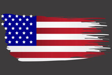 America Flag In Brush Style. Torn USA Symbol. Watery Grunge State Image. Vector Template. Stock Photo.