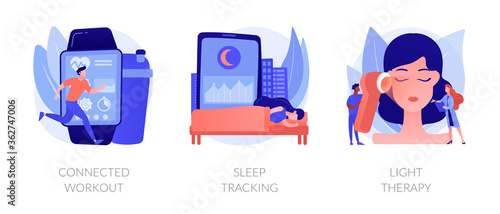 Health maintaining and wellbeing abstract concept vector illustration set. Connected workout, sleep tracking, light therapy, smart gym, sport video tutorial, wearable monitor abstract metaphor.