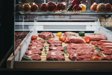 Red Meat In Display Cabinet Fo...