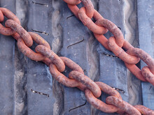 Close-up Of Rusty Metallic Chains