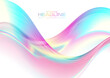 Colorful holographic foil abstract liquid waves futuristic background. Vector design