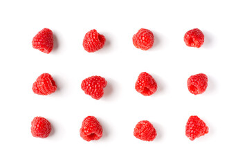 Top view of fresh raspberry isolated on white background.