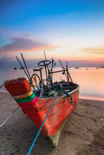 Fishing Boat Moored At Beach D...