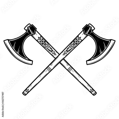 Photo Illustration of two crossed viking axe in engraving style