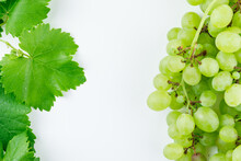 Green Grape Cluster With Leave...