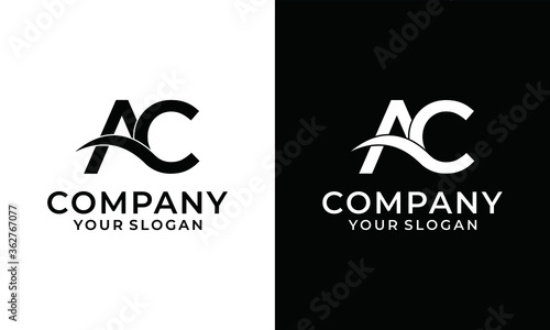 Photo initial logo ac, ca, c inside a rounded letter negative space logo, white and bl
