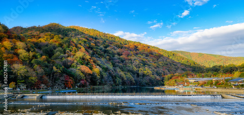 Trees By Lake Against Sky During Autumn Canvas Print