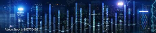 Fototapeta Modern Business Finance Chart Overlaid on Hong Kong Skyline at Night. Up and down arrow. obraz