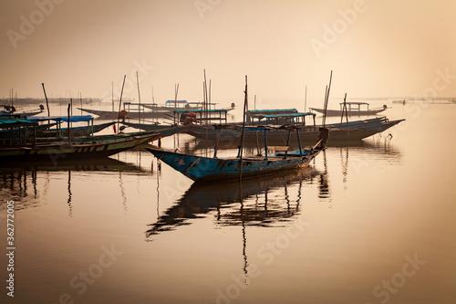 Tablou Canvas Golden Sunrise at the Asia's Largest Salt Water Lake in Chilika, Odisha, India