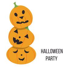 Halloween Card.  Pumpkin Heads...