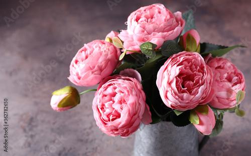 Fototapeta pink peonies for interior decoration