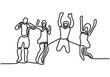 one continuous line drawing of four jumping happy people with minimalist design isolated in white background
