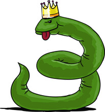 Green Snake With Crown