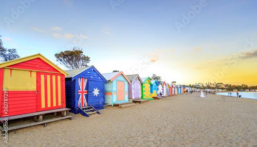 Canvastavla Beach Huts At Brighton Beach Against Sky During Sunset