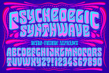 A Futuristic Reworking Of A Classic Lettering Style Popular In The 1960s During The Psychedelic Era; The Saturated Colors Are Typical Of The Vaporwave Style