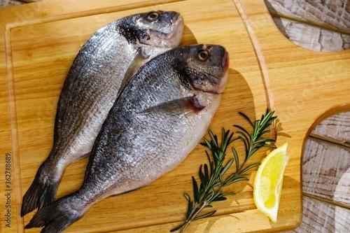 Fish seafood dorado, raw food, table. #362788689