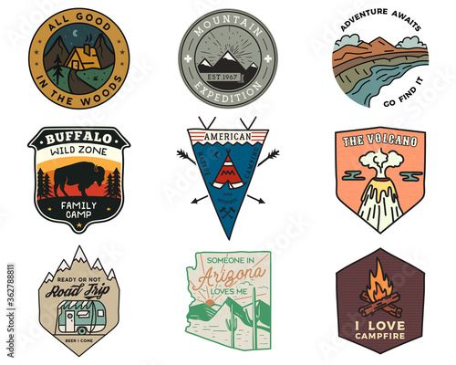 Vintage mountain camping badges logos set, Adventure patches Canvas Print