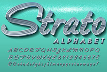 A Retro Automobile-Style Chrome Script Font; This Alphabet Is Typical Of The Lettering Plaques On Vintage Cars From The 1950s Through 1970s