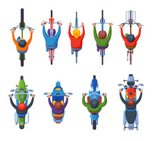 People Riding Motorcycles And Bicycles Collection, View From Above Flat Vector Illustration