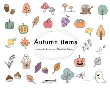 秋の手描きのイラスト...