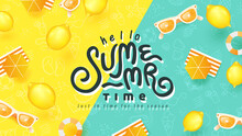 Summer Banner Design With Beach Accessories On Bright Colorful Background. Summer Lettering Text.