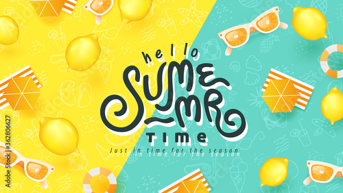 Fototapeta Summer banner design with beach accessories on bright colorful background. Summer Lettering text. obraz