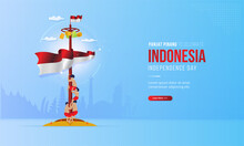 Panjat Pinang Or Climbing Slippery Pole Illustration For Celebrate Of Indonesia Independence Day