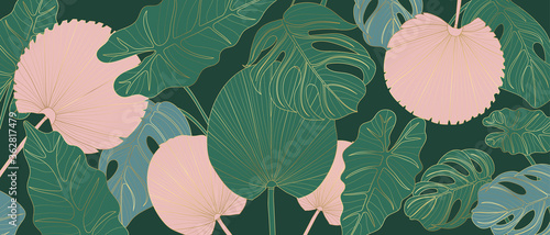 Fototapeta Luxury gold line art and Variegated Plants nature drawing background vector. Leaves and Floral pattern vector illustration. obraz