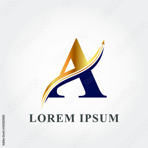 Photo Modern Luxurious arrow blended with letter A logo template