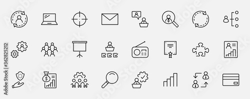 Fototapeta Set of People Management Related Vector Line Icons