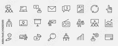 Fototapeta Set of Business Training Related Vector Line Icons. Contains such Icons as Teacher, Class, Presentation, Video, Book, Mentoring, Target and more. Editable Stroke. 32x32 Pixels. obraz