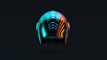 Silver Motorcycle Helmet With With Red Orange And Blue Green Moody 80s Lighting Front 3d Illustration 3d Render
