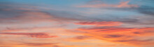 Colorful Clouds On Panoramic Sunset Sky