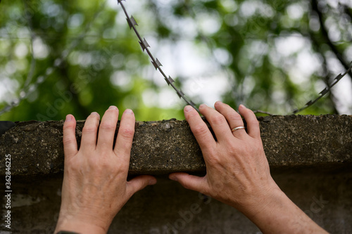 Womans hand reach out to barbed wire. Freedom concept. Wallpaper Mural