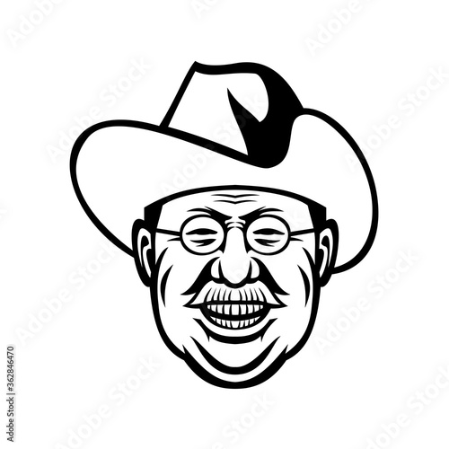 American President Theodore Roosevelt Rough Riders Head Mascot Black and White Canvas