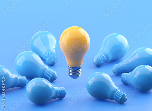 Outstanding glowing yellow light bulb among blue light bulbs 3D illustration with clipping path Wallpaper Mural