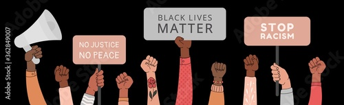 Black lives matter horizontal banner with protest fist in the air. BIPOC.Stop racism. Black lives matter graphic poster design template against racial discrimination dark background