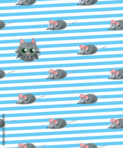 Seamless pattern with funny cat and mice. Creative Scandinavian children's texture. Watercolor illustrations on a striped background. For fabric, textiles, websites, wallpaper, packaging, prints.