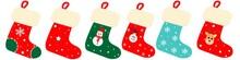 Cute Christmas Socks  Set Vect...