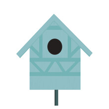 Blue Wooden Birdhouse Isolated On White Background, Vector Design Eps 10